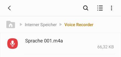 Android Speicherort der Sprachnotizen