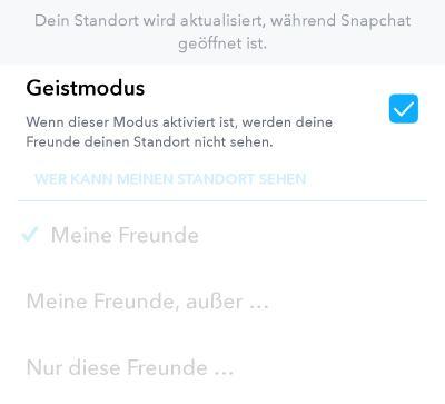Wann aktualisiert sich der Standort bei Snapchat?