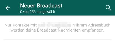 WhatsApp Broadcast nur einen Haken