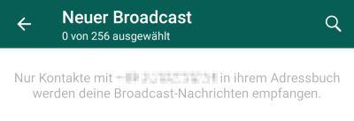 WhatsApp Broadcast Empfänger sichtbar für andere?