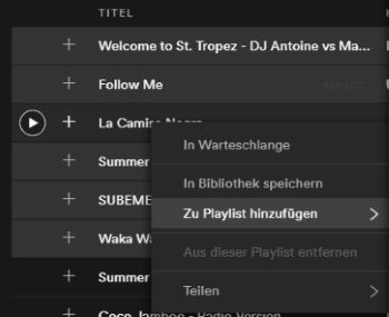 Spotify App Playlist kopieren